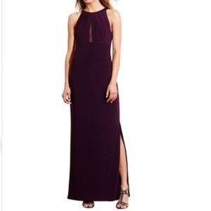 NWT Ralph Lauren Wine High Slit Jersey Formal Gown